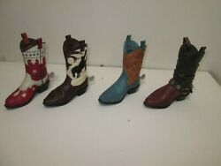 Lot Of 4 Cowboy Boot Miniature Figurines Collectibles New Western Decor