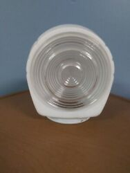 Vintage Art Deco Frosted And Clear Glass Wall Light Globe Fixtures Shade Bath Or