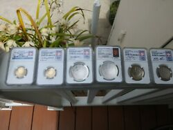 2014 H.o.f. Complete Set 1/2 Oz Gold/silver/clad All Coins Ms70/pr70 All Ngc