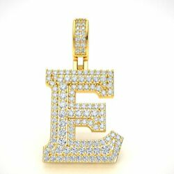 14k Gold Diamond 1.5 3d Varsity Initial Letter And039eand039 Pendant Necklace 2.30ct