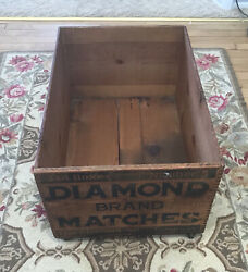"""Vintage Diamond Brand Matches Wooden Shipping Crate W/ Wheels 24"""" X 16"""" X 12"""""""