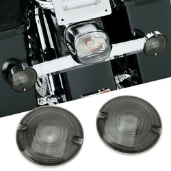 2pcs 3.25 Dia. Smoked Lens Turn Signal Light Flat Lens Covers For Motorcycle