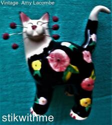 Vin 2002 Amy Lacombe Whimsiclay Flowered Cat Figurine Signature Whiskers Collect