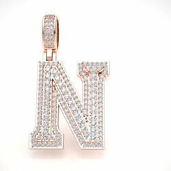 2.40ct Round Diamond 1.5 3d Varsity Initial Letter And039nand039 Pendant Charm 14k Gold