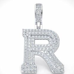 2.40ct Round Diamond 1.5 3d Varsity Initial Letter And039rand039 Pendant Charm 14k Gold
