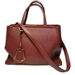 Authentic Fendi Toujour Tote Bag 2way 8bh250-1d7e Calf Leather Wine Red Used