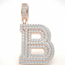 2.60ct Round Diamond 1.5 3d Varsity Initial Letter And039band039 Pendant Charm 14k Gold