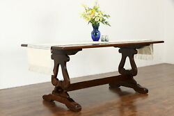 Swedish Oak Antique Dining Conference Library Or Office Table Desk 36459