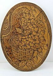 Antique Flemish Art 1025 Pyrography Basket Of Cherries Wall Plaque 13 By 10