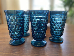 Vintage Riviera Blue Indiana Glass American Whitehall Tumblers Set Of 5