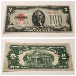Vintage Rare 1928-b 2 United States Note Two Dollar Bill Jefferson Red Dollars