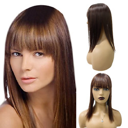 Short Straight Hair Toppers For Women Wigs With Bangs For Black Women Hair Clip $20.65