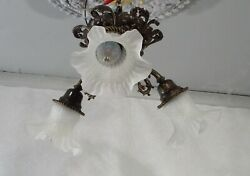Antique Vintage Flush Mount 3 Down Light Fixture Frosted Glass Shades Fancy