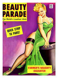 Vintage Beauty Parade Magazine Cover Print - Framed And Memo Board Available