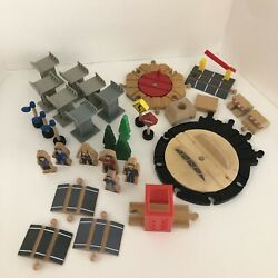 Wooden Railway Track Lot Turntable Risers People Trees Accessories Stop Block
