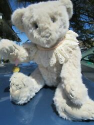 Vintage White Teddy Bear 24 Artist Wendy Brent Noses Roses Rare Musical Wind Up