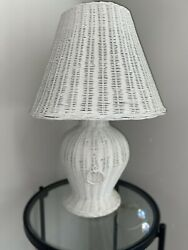 Large Vintage White Wicker Lamp With Shade Shabby Chic