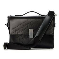 Authentic Berluti Prism Script Briefcase 2way Business Bag Leather Black Used