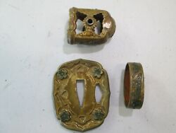 Wwii Army Officers Japanese Sword Hand Guard Matching Tsuba And Handle Parts