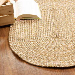 Braided Rug Brown Beige Cream Multicolor In Oval And Round Sizes