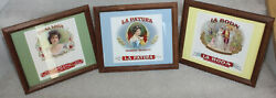 Three Antique Framed Stunning Cigar Box Labels Authentic Copyright 1924