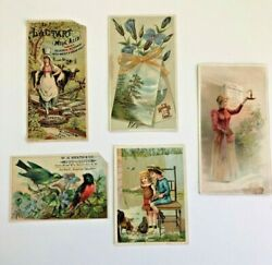 Lot Of 5 Trade Card Advertising Cards Round Oak Stove Lactart Etc.  C 1880's