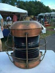 Huge Antique Russell And Stoll Brass Nautical Electric Ship's Lantern Red Lens