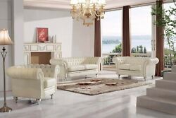 Esf 287 Living Room Set Sofa And Loveseat In Ivory Italian Leather