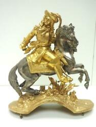 Clockmakers Spares - Rare Clock Case Solid Bronze Figure On Horse Back - Finial
