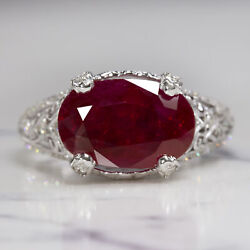 5ct Oval Cut Ruby Diamond Cocktail Ring Vintage Style 18k White Gold East West