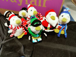 """Lot Of 7aflac 2017,2006, 2018, 2013 Macy's 6"""" Talking Holiday Duck Plush"""