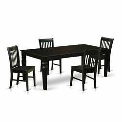 Lgno-blk-w 5 Pc Dinette Set With A Dining Table And 4 Wood