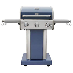 Kenmore Azure Blue 3 Burner Outdoor Propane Gas Patio Bbq Grill