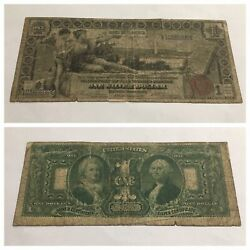 Vintage 1 Rare 1896 Educational Silver Certificate One Dollar Bill Red Seal