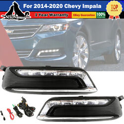 For 14-20 Chevy Impala Clear Lens Pair Led Drl Fog Light +wiring+switch Kit