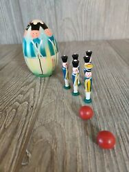 Vintage Antique Wooden Mini Skittles Bowling Game Polish Soldiers Egg Putz