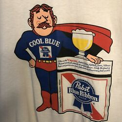 Pabst Blue Ribbon T-shirt L Cool Blue Graphic Tee Vtg Pbr Beer - Augusta Tag