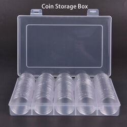 100pcs/lot Transparent Plastic Coin Holder Collecting Box Case For Coins Stor Y1