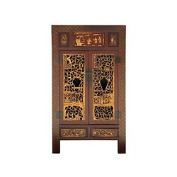 Chinese Fujian Brick Red Golden Carving Graphic Armoire Storage Cabinet Cs6089