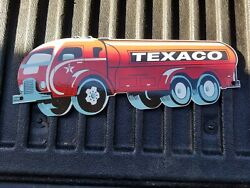 Vintage Old Texaco Motor Oils Porcelain Gas Station Pump Sign Truck Die Cut