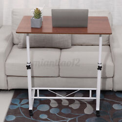 Angle Height Adjustable Rolling Laptop Desk Over Sofa Bed Notebook Table Stan
