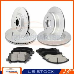 Front + Rear Brake Disc Rotors And Ceramic Pads Slotted For 2007-2013 Acura Mdx