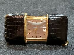 Vintage Movado Ermetoscope Swiss Gold Plated And Leather Manual Wind Travel Clock