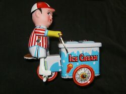 Vintage Little Boy Ice Cream Cart Tin Type Wind Up Toy New Old Stock And039and039lqqkand039and039