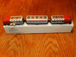 Vintage Rr Train W/ 2 Cars Tin Type Wind Up Toy New Old Stock ''lqqk'' Nice