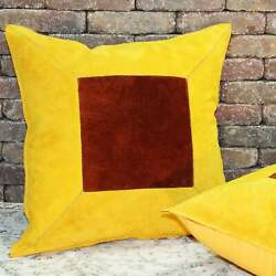 Natural Geo Prolific Leather Suede Yellow/brown Square Yellow, Brown 18 X 18