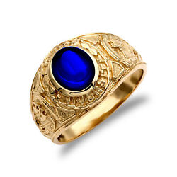 Jewelco London Mens 9ct Gold Blue Cz Cabochon Solitaire University College Ring