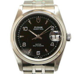 Tudor Date 74000 Self-winding Black Dial Stainless Steel Menand039s 34 Mm