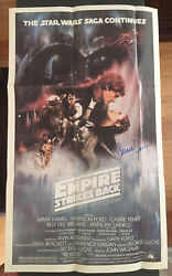1981 Star Wars Empire Strikes Back Topps Poster 12 X 20 Signed By Carrie Fisher