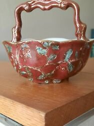 Antique Faberge Porcelain Bowel With Handle Maroon, Gold And Green